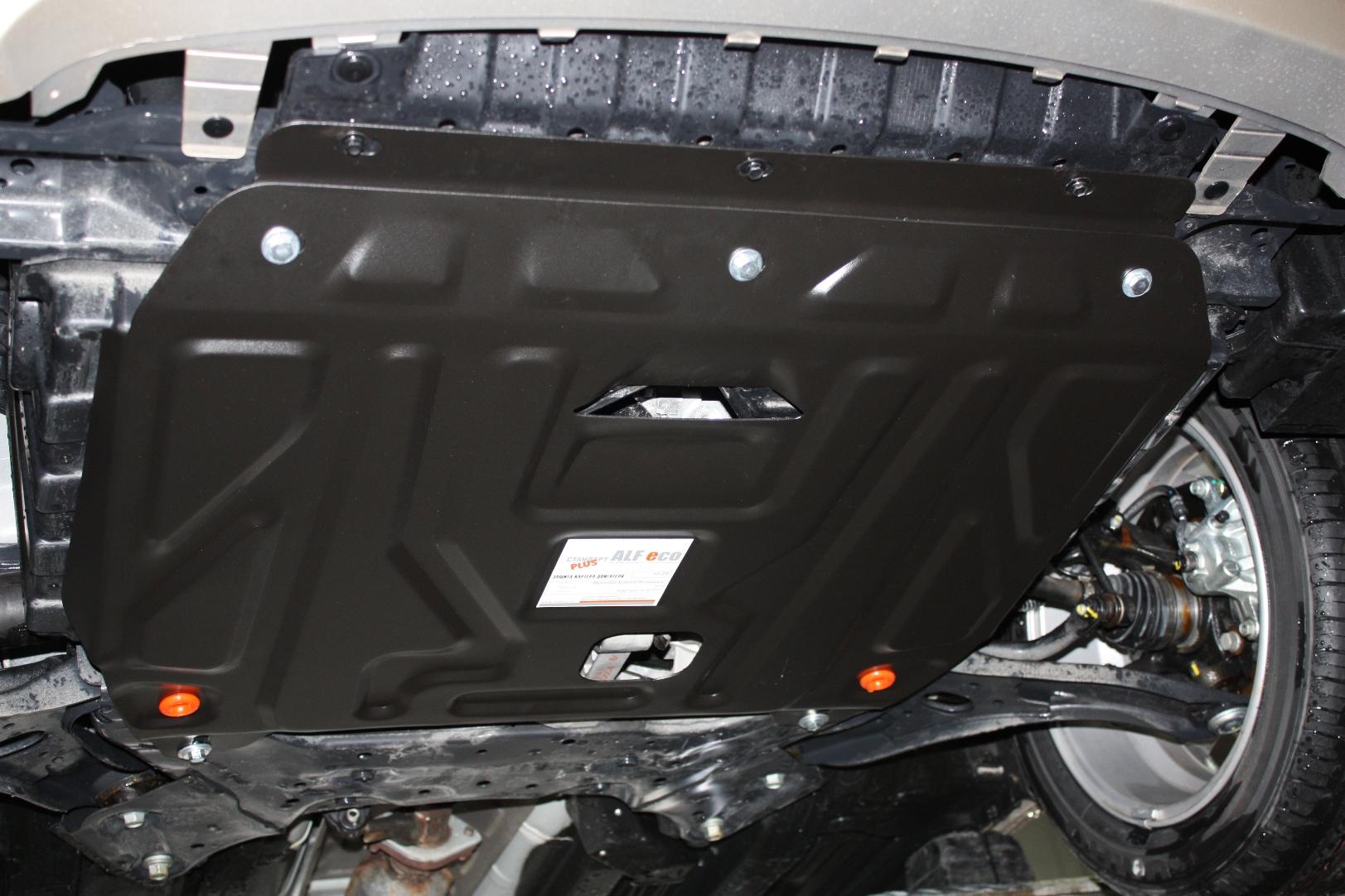 Защита картера двигателя, КПП Hyundai Solaris (Хёндай Соларис) V-1,4; 1,6 (2010-2016) (сталь 2 мм)
